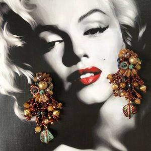 Vintage Boho Beaded Gemstones Fringe Earrings